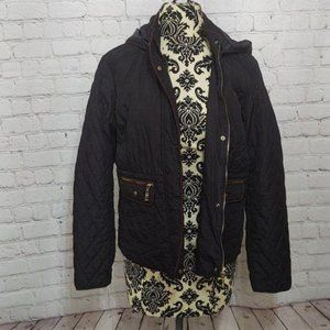 Active USA Quilted Hooded Jacket Black & Brown
